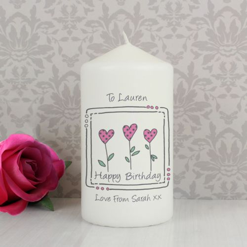 Personalised 3 Hearts Message Candle Gift For Birthday and Special Occasions